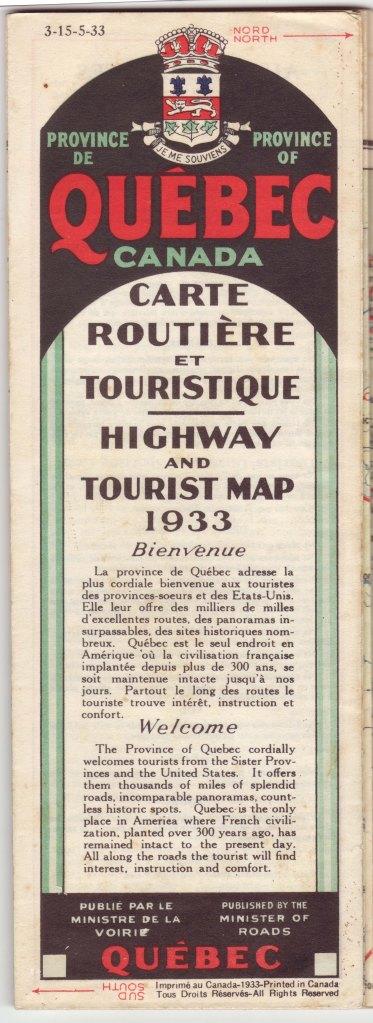 1933 Quebec Map Cover