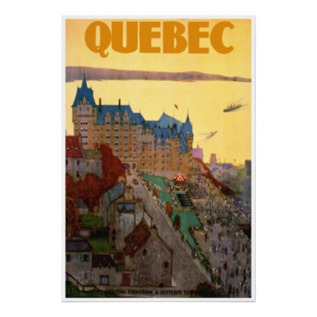 Quebec Retro Travel Poster