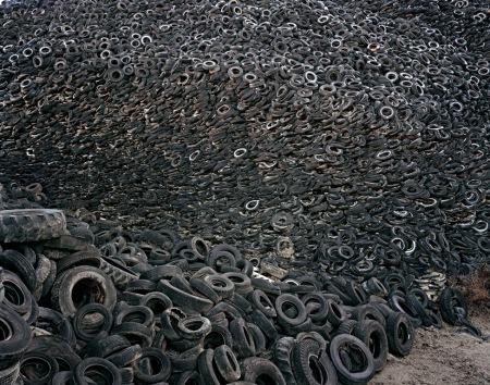 E. Burtynsky -- Oxford Tire Pile No. 9a, Westley, California (1999)