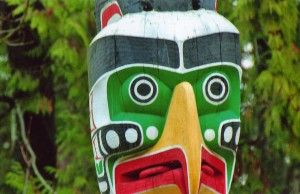 Close Up Thunderbird House Totem Pole Stanley Park Vancouver