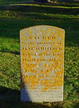 Gravestone with Yellow Lichen, Loyalist Burying Ground, St. Andrews By the Sea, N.B.