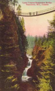 About 1920. Less well-known and more secluded than the Capilano Suspension Bridge several miles away in Vancouver.