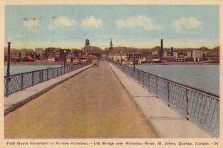 Another view of the Pont Gouin in St. Johns, Quebec. Postmarked 1939.