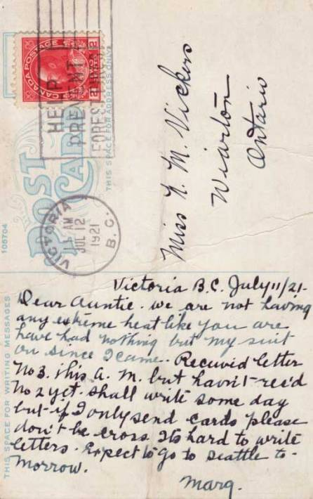 """Reverse of the Victoria Gorge card in this group. Postmarked 1921. Like the line: """" . . . if I only send cards please don't be cross. It's hard to write letters."""" Only a name and a town were needed for an address."""