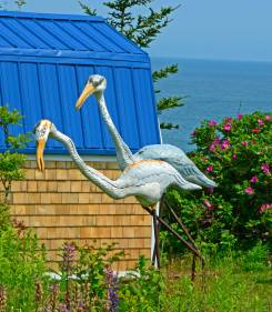 Curious Wood Storks with Wrought Iron Legs, by David Taylor