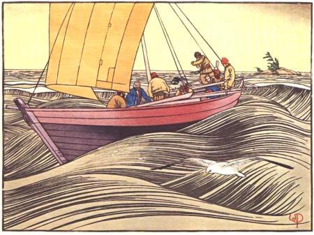 Walter J. Philips -- York Boat on Lake Winnipeg (1930) v2
